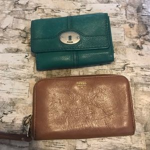 Fossil leather wallet lot